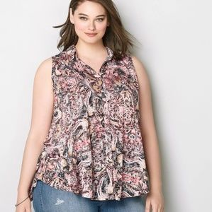 Avenue Pink paisley sleeveless buttondown Blouse
